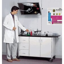 Mobile Science Demonstrator Table with Overhead Mirror and Drawers