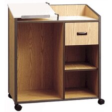 Mobile Podium with Shelf and Drawer