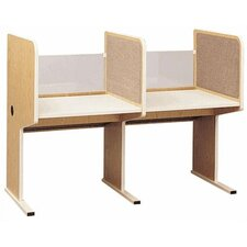 Library Lab Fabric and Plexiglass Carrel Workstation Starter