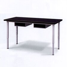 <strong>Fleetwood</strong> Adjustable Height Steel Frame Science Table with Black Epoxy Resin Top and Book Storage