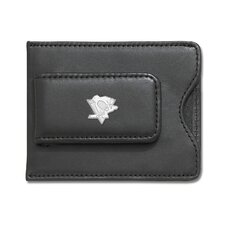 NHL Logo Black Leather Money Clip / Credit Card / ID Holder