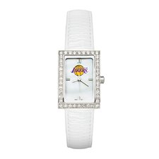 <strong>LogoArt®</strong> NBA Ladies Fashion Watch with White Leather Strap