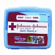 <strong>BAND-AID</strong> Johnson and Johnson Red Cross Portable Travel First Aid Kit, 70 Pieces