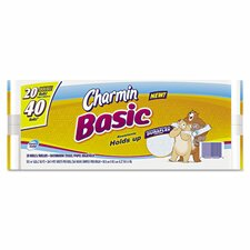 Basic Big 1-Ply Toilet Paper - 264 Sheet per Roll (Set of 20)