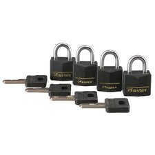 Vinyl Cover Brass Padlock (Set of 4)