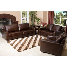 Beverly 3 Piece Hand Rubbed Leather Sofa, Loveseat, and Armchair