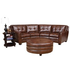 <strong>Abbyson Living</strong> Lexia Premium Top Grain Sectional and Round Ottoman Set
