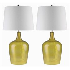 """Delmore Glass 27.5"""" Table Lamp with Drum Shade (Set of 2)"""