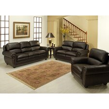 Ridgecrest 4 Piece Top Grain Leather Sofa, Loveseat, Armchair, and Ottoman