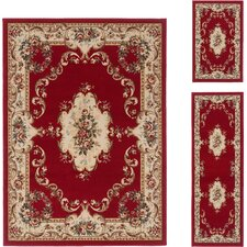 Laguna Red Floral Rug 3 Piece Set