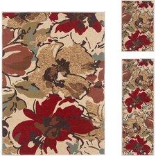 Laguna Beige Floral Rug  3 Piece Set