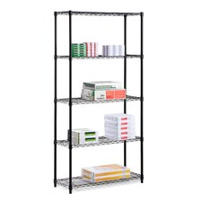 Five Tier Grid Patterned Storage Shelves in Black