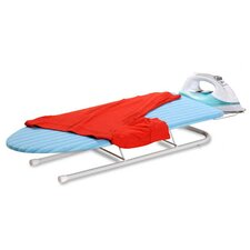 <strong>Honey Can Do</strong> Tabletop Ironing Board with Retractable Iron Rest in Aqua Blue and White