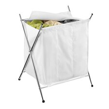 3 Compartment Folding Hamper in White