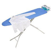 Four Leg Ironing Board with Retractable Iron Rest in Blue and White