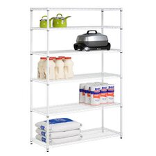 Six Tier Steel Shelving in White