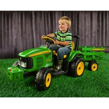John Deere 12V Battery Powered Tractor with Trailer