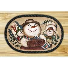 Snowman Sledding Novelty Rug