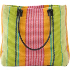 <strong>Dash and Albert Rugs</strong> Parasol Stripe Woven Cotton Tote Bag