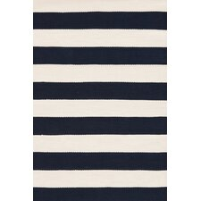 Catamaran Ivory / Navy Blue Striped Indoor / Outdoor Area Rug