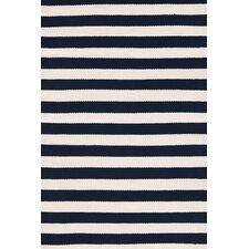 Indoor/Outdoor Trimaran Black/White Striped Outdoor Area Rug
