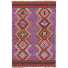Rhapsody Purple/Red Geometric Area Rug