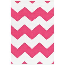 Chevron Fuchsia / White Indoor / Outdoor Area Rug