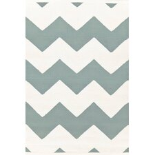 Chevron Light Blue / White Outdoor Area Rug