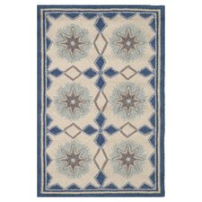 Hooked Navy Star Rug