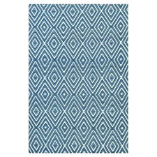 Woven Diamond Denim/White Indoor/Outdoor Rug