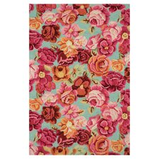 Hooked Bed of Roses Rug
