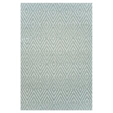 Woven Light Blue Diamond Indoor/Outdoor Area Rug