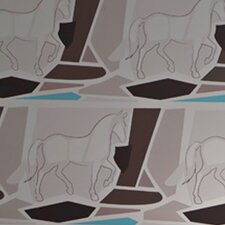 California Equestrian Geometric Wildlife Wallpaper Sample
