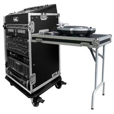 <strong>Road Ready Cases</strong> DJ / Mi Slant Rack System - 11U Slant Rack Depth / 16U Vertical Rack with Casters and Table