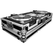 "DJ CD Player Coffin 12"" Mixer Coffin with Low Profile Wheels For 2 Numark CDX or HDX Turntables"