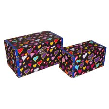 2 Piece Flat Top Keepsake Box with Psychedelic Hearts Design Set