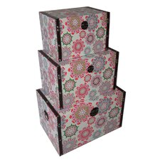 3 Piece Flat Top Keepsake Trunk with Kaleidoscope Design Set