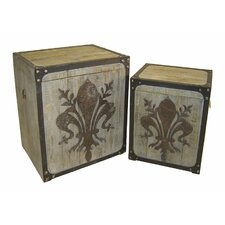 2 Piece Fleur De Lis Square Trunk Set