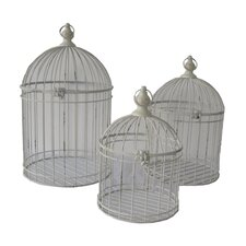 3 Piece Open Air Shabby Birdcage with Hook Lock Set