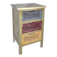 3 Drawer Mesh Cabinet with Cutout Handle