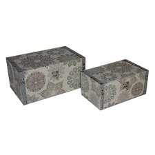 2 Piece Flat Top Keepsake Box with Kaleidoscope Design Set