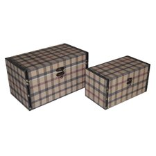 2 Piece Flat Top Keepsake Box with Tartan Design Set