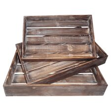Wood Slatted Tray (Set of 3)
