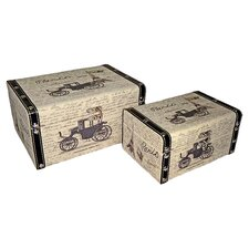 Rectangular Box with Paris and Carriage (Set of 2)