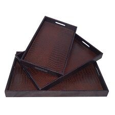 3 Piece Snakeskin Tray Set