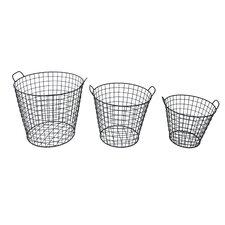 3 Piece Tapered Wire Basket Set