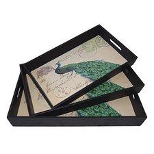 3 Piece Peacock Tray Set