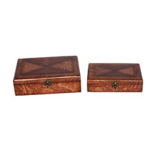 Two Piece Wooden Treasure Chest Set in Brown
