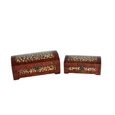 <strong>Cheungs</strong> Two Piece Wooden Treasure Chest Set with Marble and Leopard Design in Brown