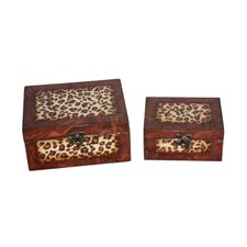 Two Piece Rectangular Wooden Treasure Chest Set in Brown